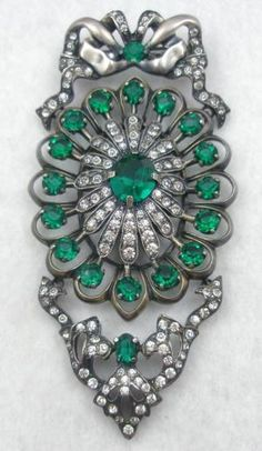 Eisenberg Sterling Emerald Rhinestone Bow Brooch - Garden Party Collection Vintage Jewelry