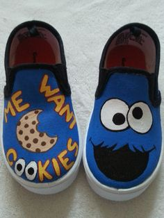 Found these Cookie Monster Sesame Street shoes on Etsy, but I think I'd like 2 different characters.  Maybe I'll try to DIY cookie monster and Elmo canvas sneakers