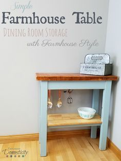 These Farmhouse Tables are not hard to make, but they make a big impact. Using all scrap or reclaimed wood, these come together quickly and cost next to nothing. Or nothing at all in our case!   See how we use two in our dining room for storage and gorgeous style!       #farmhouse #farmhousestyle #farmhousetable #diy #diytables #farmhousediy #diyfurniture #diningroom #farmhousedecor