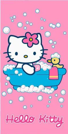 Hello Kitty in the bathtub with a rubber ducky Sanrio Hello Kitty, Chat Hello Kitty, Hello Kitty My Melody, Hello Kitty Items, Hello Kitty Backgrounds, Hello Kitty Wallpaper, Pink Wallpaper, Images Hello Kitty, Hello Kitty Imagenes