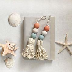4 Drawer knob tassel with wooden bead garland, door knob tassel with wood bead garland, blue, white and living coral boho tassel, Door decor