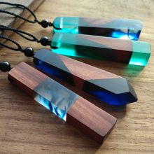 1pcs hot sale Fashion Women Men Necklace Handmade Vintage Resin Wood Necklaces Pendants Long Rope Wooden Necklace Jewelry(China)