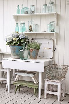 Summer Porch Display - Norway Glass in Blue - used to hold collected stones and shells found at the beach - via VIBEKE DESIGN: Forget-Me-Nots and Creative Recycling Ideas