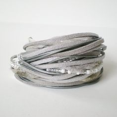 glitter leather wrap bracelet silver leather suede by jcudesigns, £21.00