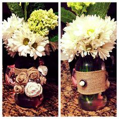 Embellished Burlap Mason Jar Vase. #embellished #burlap #masonjar #vase #youcanbuyme #brffco #forsale