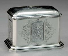 American sterling tea caddy, Starr & Marcus New York