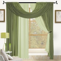 Kashi Home Bella Window Scarf Solid Semi-Sheer Rod Pocket Curtain Panels Curtain Color:
