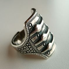 David Andersen Norway 925 silver ring. One of the largest rings from the Saga collection.