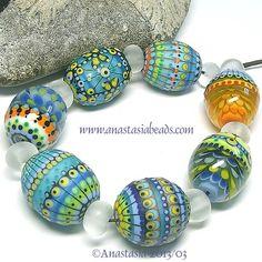 """Anastasia Lampwork Beads 7 """"Easter Eggs"""" SRA   eBay"""