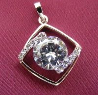 (0033) SILVER and LARGE CLEAR Gemstone square Pendant  FREE P&P with PAYPAL  www.nettysnicknacks.co.uk