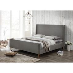 Shop for Bedford Grey Upholstered King Platform Bed. Get free shipping at Overstock.com - Your Online Furniture Outlet Store! Get 5% in rewards with Club O! - 20906528