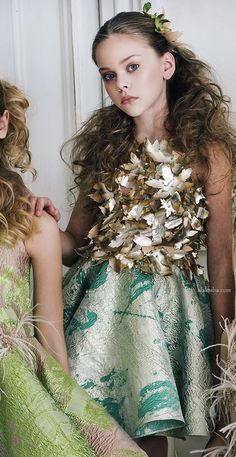 Girls Green & Gold 'It's Magic' Dress