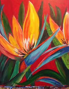 Turned out gorgeous! Proud of my painting skills on this one! Finally getting my backyard ready for summer! Paradise Painting, Birds Of Paradise Flower, Acrylic Painting Flowers, Tropical Art, Pastel Art, Floral Illustrations, Wall Art Designs, Botanical Art, Painting Inspiration