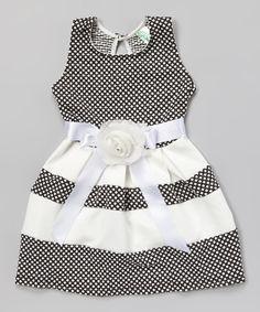 Loving this Black & White Polka Dot Sash Dress on #zulily! #zulilyfinds