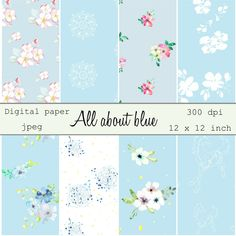 Decorative digital paper in jpeg format, 8 images in inch printable. Blue horses, flowers and mandala for web design and cards. Diy Projects Baby Shower, Baby Shower Notes, Feather Clip Art, Watercolor Feather, Sell My Art, Floral Printables, Blue Horse, Tile Patterns, Paper Background