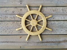 15 Ship wheel wall hanging metallic gold home by PerFecteauDecor, $48.95