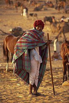 Indian farmer . Pushkar Camel Fair . Rajasthan