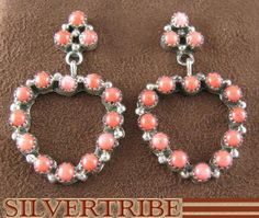 Navajo Indian Jewelry Sterling Silver And Pink Coral Heart Post Earrings AS30353