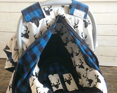 Seat Cover/ Car Seat Canopy Custom Deer & Blue Plaid 5 Piece Gift Sets - Baby Wear Boy Car Seat Cover/ Car Seat Canopy Custom Gift Sets Deer and Baby Set, Baby Gift Sets, Baby Boys, New Baby Girls, Kids Boys, Carters Baby, Baby Girl Car Seats, Baby Boy Carseat Covers, Bebe Love