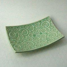 Celadon Swirl Ceramic Pottery Soap Dish Plate by madhatterceramics