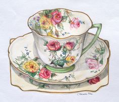 Not stacked but beautifully executed Moss Rose Tea Cup