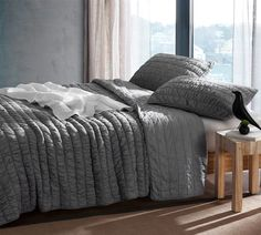 Eider & Ivory Odum Cotton Pure Textured Quilt Size: Twin XL, Colour: Off-White Ruffle Bedding, Linen Bedding, Bed Linens, King Quilt Bedding, Bedspread, Joss And Main, Quilt Sets Queen, Shabby, Single Quilt