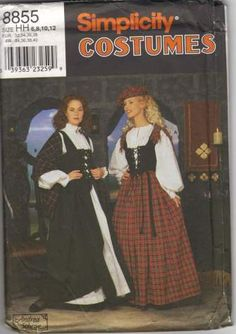 Simplicity 8855 Designer Andrea Schewe Misses Celtic Scottish Costume Pattern Skirt Blouse Vest Shawl and Tam Womens Sewing Pattern Reenactment by patterngate.com