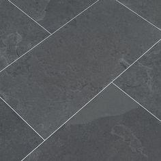 MSI Montauk Black 12 in. x 24 in. Gauged Slate Floor and Wall Tile sq. / case) - - The Home Depot Slate Flooring, Flooring Options, Black Vinyl Flooring, Hallway Flooring, The Tile Shop, Black Tiles, Wall Tiles, Interior Design Living Room, Natural Stones