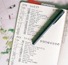Bullet Journal Timeline - Time ladder with the Pomodoro Method by @honeyrozes