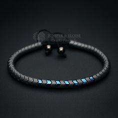MEN S MATTE GRAY SNAKE SKIN BRACELET - Hand craftedsnake skin bracelet made with blue and matte gray beads.