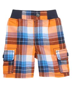 Preppy plaid with lots of color give our rugged cotton cargo shorts extra style.