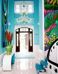 Mural Inspiration for the Artist Home Design - i love the colour but would want lower ceilings