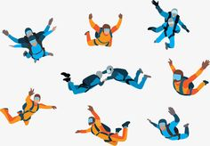 Skydiving, Colour, Blue PNG and Vector