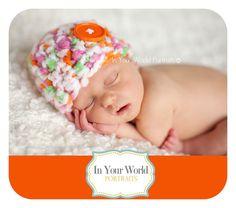 Newborn Button Hat Orange Lime Green Pink by BeautifulPhotoProps, $26.00