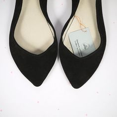 Ballet Flats Shoes Pointy Black Leather Slip on by elehandmade