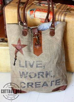 Recycled Canvas Handbags from my work. Mona B. Live Work Create Tote Bag                                                                                                                                                     More