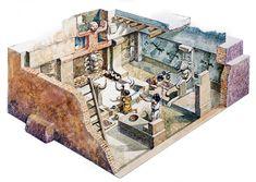 Çatalhöyük evi aynı anda hem barınak, hem üretim alanı, hem tapınak, hem de mezarlıktı. [Çizim: De Agostini Picture Library]