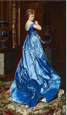 The Blue Dress, by Edouard Frederic Wilhelm Richter, ca. 19th c.