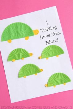 I Turtley Love You Mom! Homemade Mother's Day and Kids Craft! I Turtley Love You Mom! Homemade Mother's Day and Kids Crafts, Mothers Day Crafts For Kids, Fathers Day Crafts, Mothers Day Cards, Toddler Crafts, Preschool Crafts, Mother Day Gifts, Yarn Crafts, Crafts Cheap