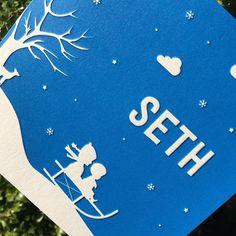Mooi winters kaartje ontworpen en gedrukt voor Seth. #letterpers #letterpress #slee #geboortekaartje #birthannouncement