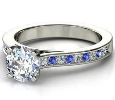 Engagement Ring Blue Sapphires & Diamonds band