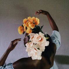 Bask in your magic. #melanin #human #flowers #interim #vsco #portrait #blackgirlmagic #art