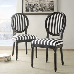 Linon Home Black and White Stripe Chairs - Set of 2 | from hayneedle.com