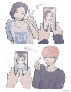 Jeonghan and Joshua fanart Seventeen Memes, Jeonghan Seventeen, Joshua Seventeen, Woozi, Mingyu, K Pop, Anime Manga, Anime Art, Kpop Drawings