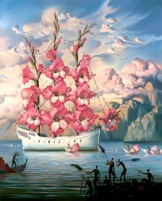 Vladimir Kush Arrival of the Flower Ship painting for sale - Vladimir Kush Arrival of the Flower Ship is handmade art reproduction; You can shop Vladimir Kush Arrival of the Flower Ship painting on canvas or frame. Vladimir Kush, Salvador Dali Gemälde, Salvador Dali Paintings, Surrealism Painting, Modern Surrealism, Fine Art, Oeuvre D'art, Amazing Art, Awesome