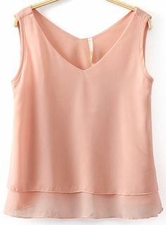 Pink V Neck Sleeveless Double Layers Chiffon Vest US$18.63