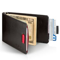 DistilUnion Wally Bifold Minimal Leather Wallet with Pull-Tab and Money Clip