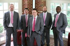 The groomsmen in the pink ties--a great statement piece! Bridal Parties, Pink Ties, Groomsmen, Suit Jacket, Unique, Party, Pictures, Fashion, Photos
