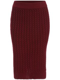 Red Slim Cable Knit Skirt 16.14