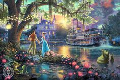 """Thomas Kinkade-""""Princess and the Frog""""- Open edition 14"""" by 14"""" Canvas Giclee Prints"""